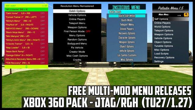 GTA 5 ONLINE - FREE MULTI-MOD MENU RELEASES XBOX 360 - 6 HUGE MOD