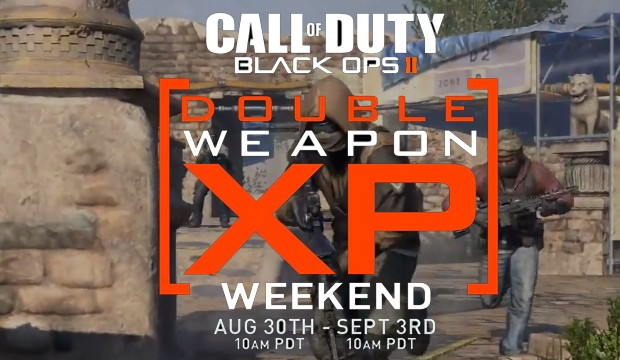 Treyarch has announced that a Black Ops 2 Double Weapon XP weekend